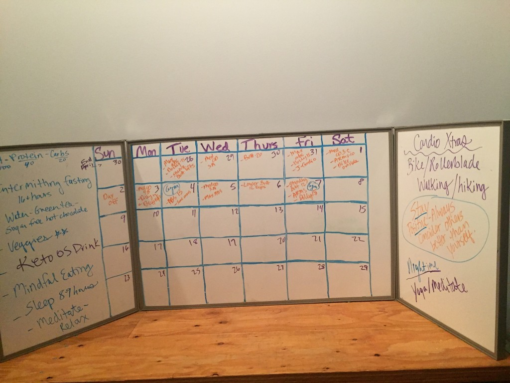 Karie's Fitness Lifestyle Whiteboard Planner Close up in Fitness Area