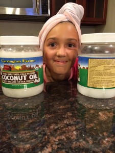 joeys office assistant helping with coconut oil